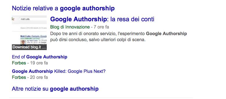 La thumbnail rimane nella SERP nello spazio per Google News
