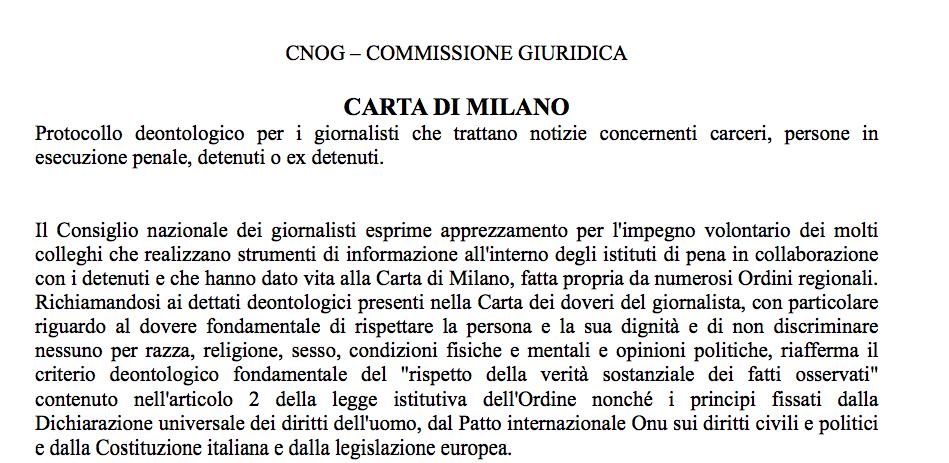 Diritto all'oblio - Introduzione della Carta di Milano, protocollo deontologico per giornalisti