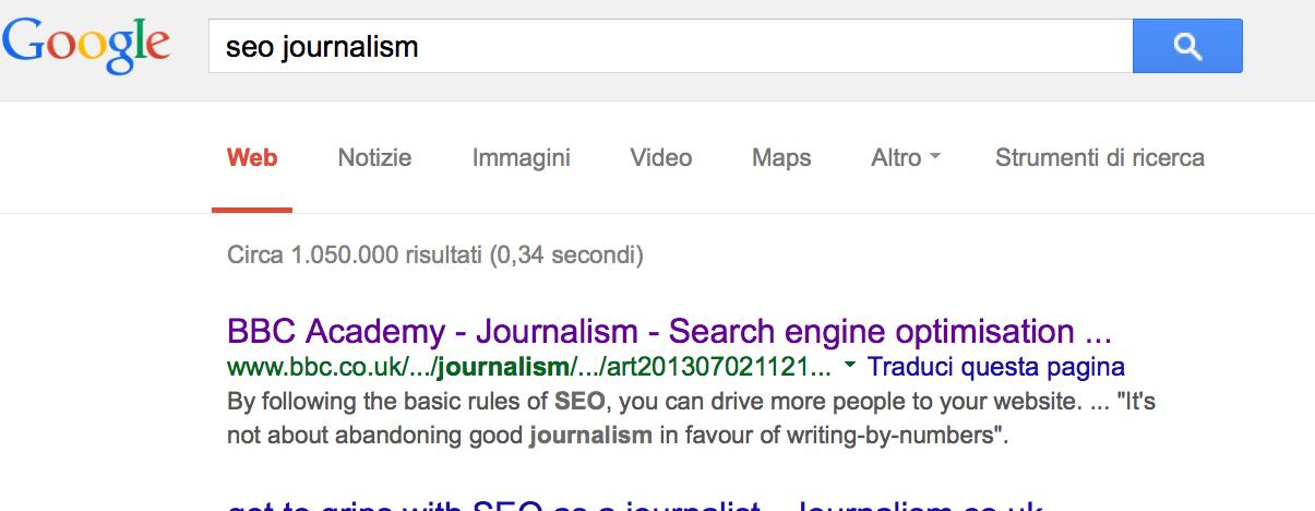 Giornalismo SEO - La SERP della keyword in inglese