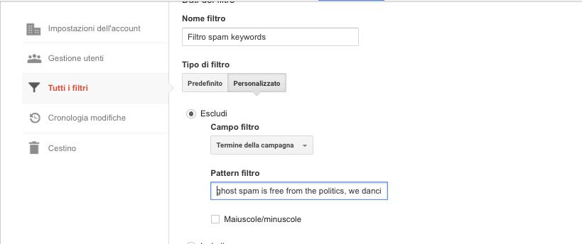 Rimuovere keyword spam analytics