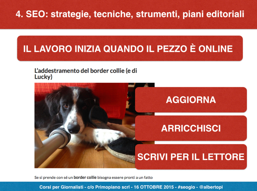 Nell'immagine, una delle slide del corso SEO per giornalisti c/o Primopiano.