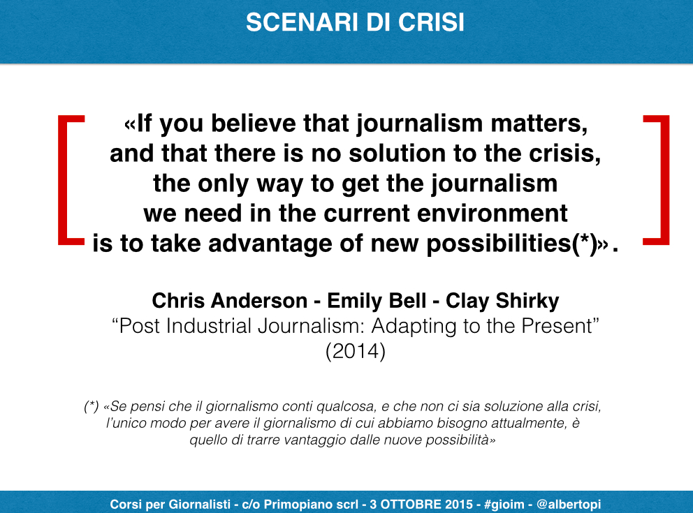 Giornalisti imprenditori, scenari di crisi