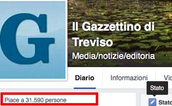 Engagement la pagina Facebook del Gazzettino di Treviso