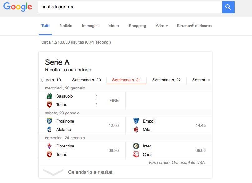 Google risultati Serie A
