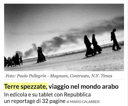 In questa immagine, dal sito di Repubblica.it, sembra addirittura che il reportage sia di Mario Calabresi