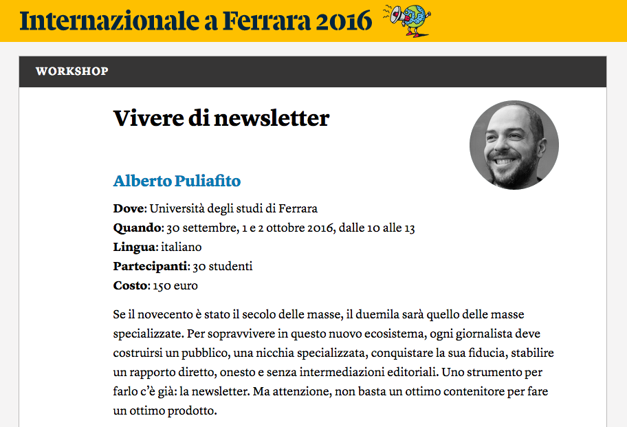 Vivere di Newsletter - Programma del workshop