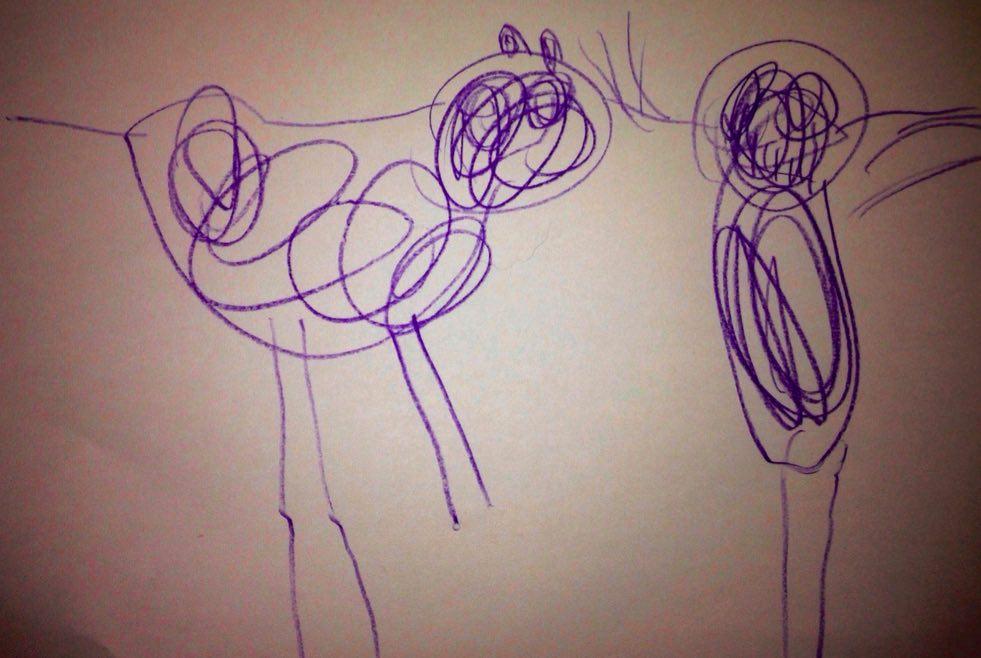Mia figlia disegna il nostro border e il suo papà!