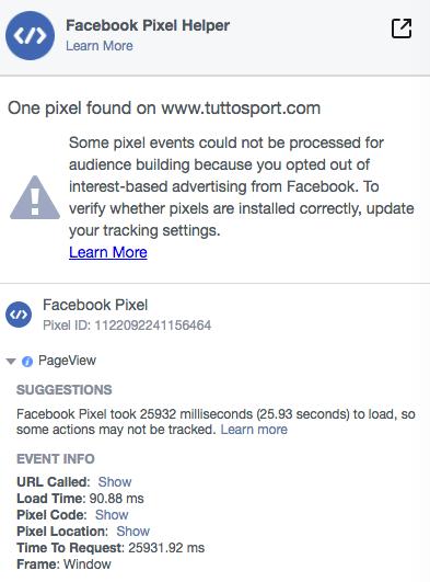 Le informazioni sul Pixel di Tracciamento di Facebook