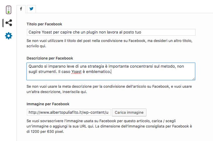 Yoast permette di modificare titolo e descrizione per Facebook
